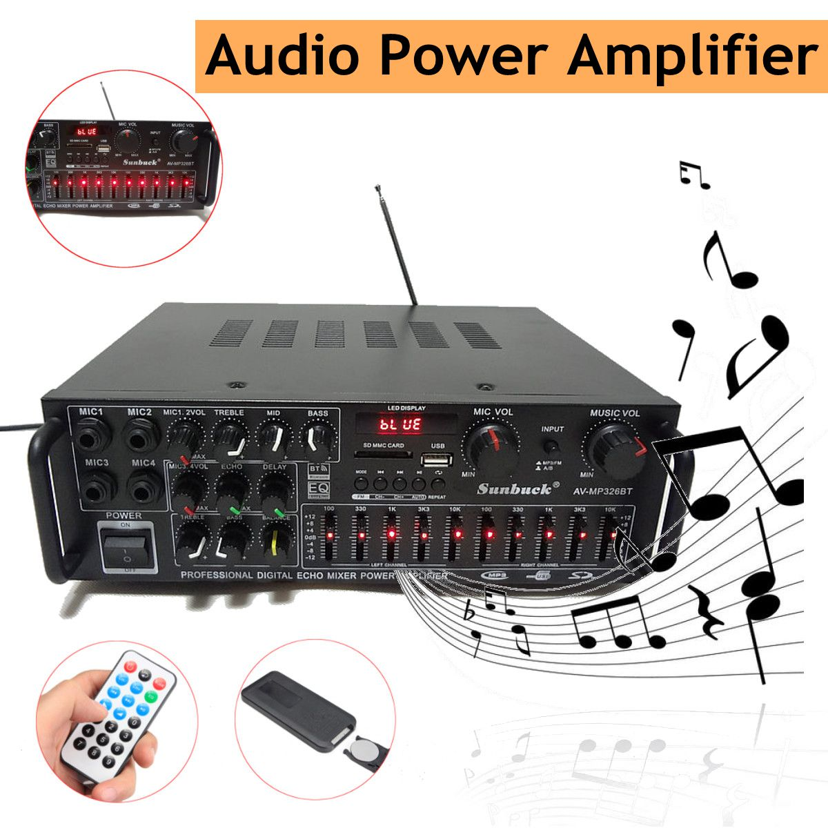 Bluetooth 20 Channel 2000w Audio Power Hifi Amplifier 326bt 12v Amp Mid High Portable Speaker 220v Av With Remote Control For Car Home In From Consumer Electronics
