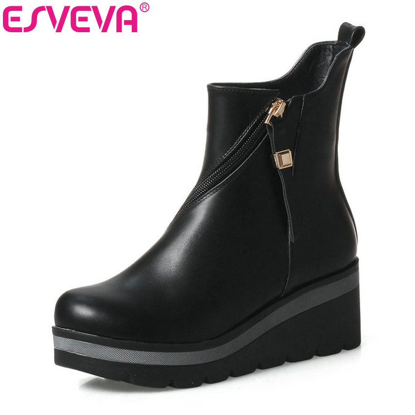 ESVEVA 2018 Women Boots Zipper PU Leather Ankle Boots Wedges High Heel Round Toe Winter Short Plush Ladies Boots Size 34-39 esveva 2018 women boots sweet style black ankle boots short plush pu lining pointed toe square high heel ladies shoes size 34 39