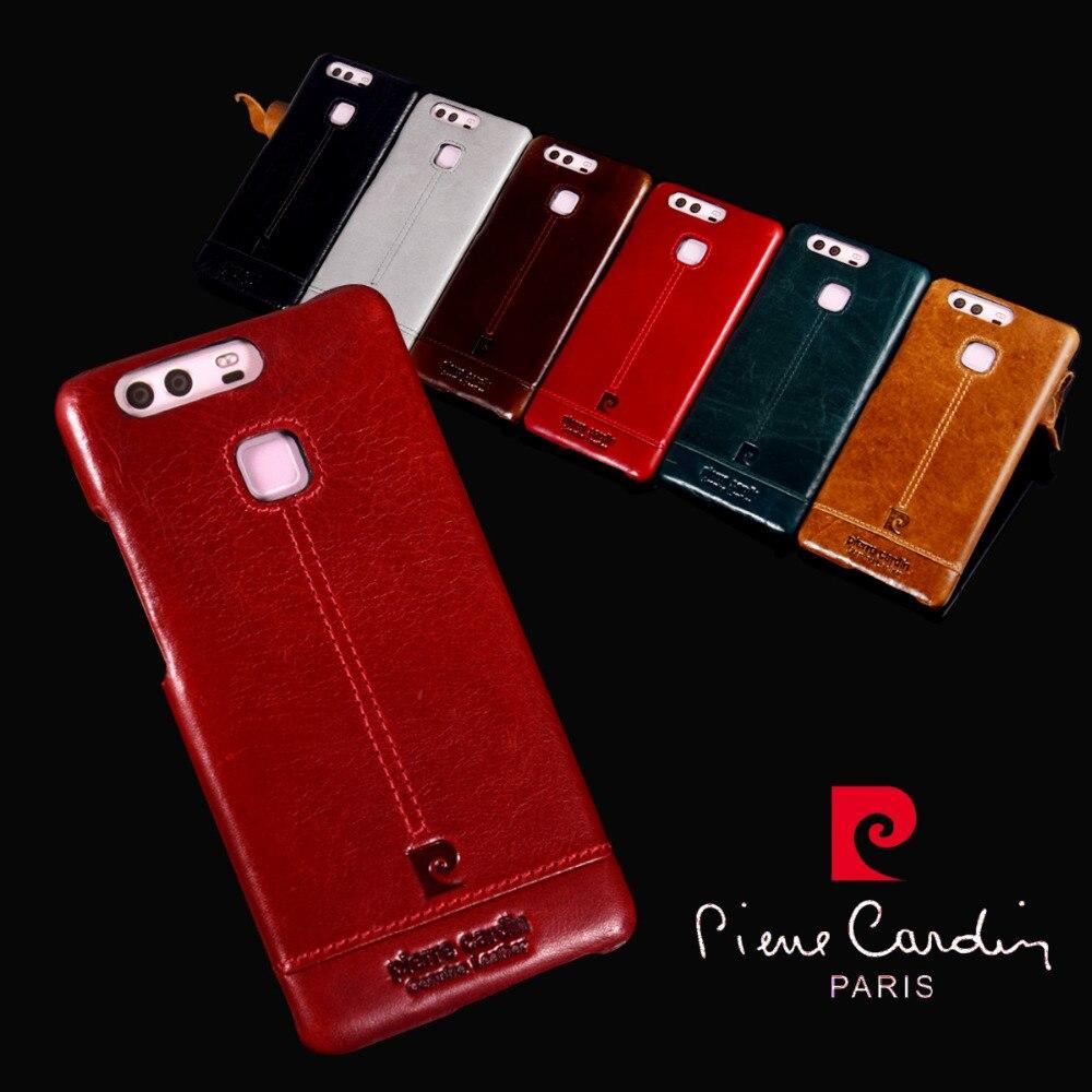 imágenes para 2016 Pierre Cardin Venta Caliente de Cuero Genuino de La Vendimia Delgado Casos Duros de La Cubierta Para Huawei P9/P9 Más Gastos de Envío gratis