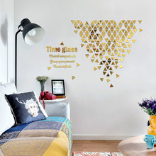 Time hourglass Inspirational geometry creative 3D three-dimensional acrylic mirror home decoration self-adhesive wall stickers