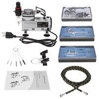 3 pcs Dual Action Airbrush Kit +Air Compressor paint Spray gun Air Brush Set sandblaster Tattoo Nail Art Supply w/Cleaning Brush