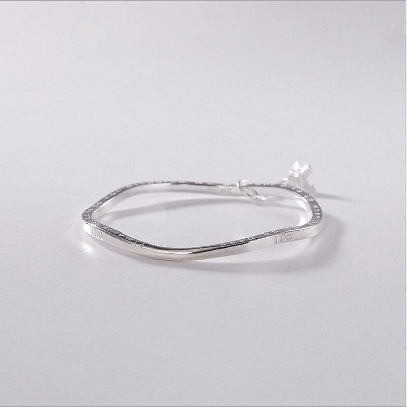 Uglyless 57MM diamètre torsion flexion bracelets pour les femmes solide 99.9% Fine argent tour Eiffel bracelets porte-bonheur lettre devise bracelet - 4
