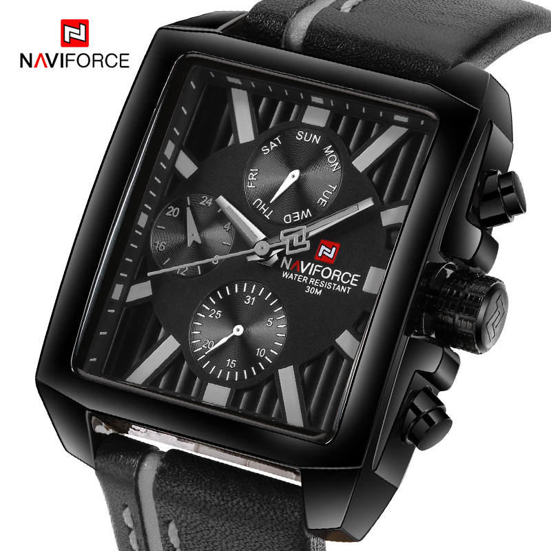 NAVIFORCE Men Fashion Quartz Wristwatches Waterproof Sports Watches Luxury Top Brand Leather Watch Clock Male Relogio Masculino men fashion quartz watch mans full steel sports watches top brand luxury cuena relogio masculino wristwatches 6801g clock