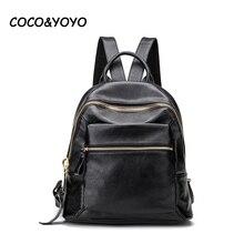 2016 nueva llegada de la manera 100% cuero Genuino negro bolsos de escuela para los adolescentes mochilas mochila de alta calidad de La Vendimia mujer