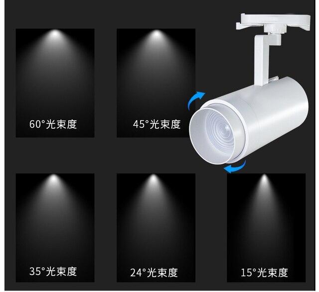 Fanlive 20pc 트랙 조명 조정 가능한 초점 트랙 램프 20W 30W 40W COB 레일 스포트 라이트 비품 AC 85-265V 옷감 저장소