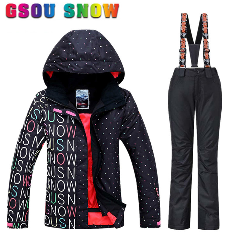 8180bf84a5f GSOU SNOW Brand Waterproof Ski Suit Women Ski Jacket Pants Winter Mountain Skiing  Suit Snowboard Jacket Pants Women Snow Clothes-in Skiing Jackets from ...