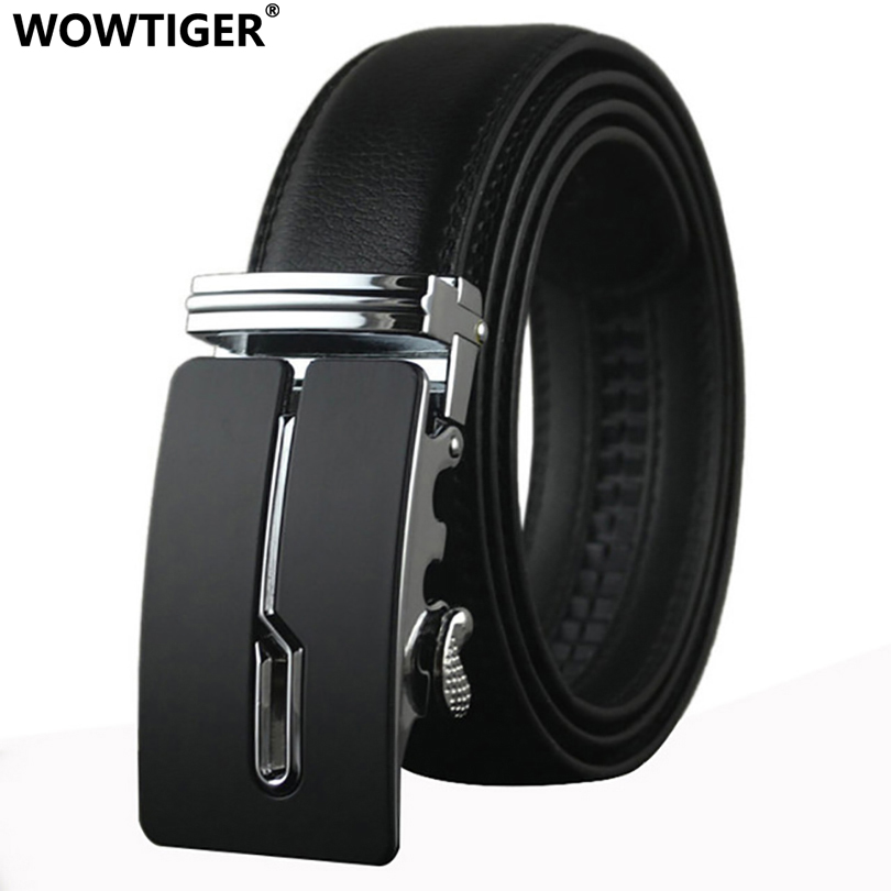 WOWTIGER Belt designer automatisk spenne Cowhide Leather menn luksus mote Man business belter for menn