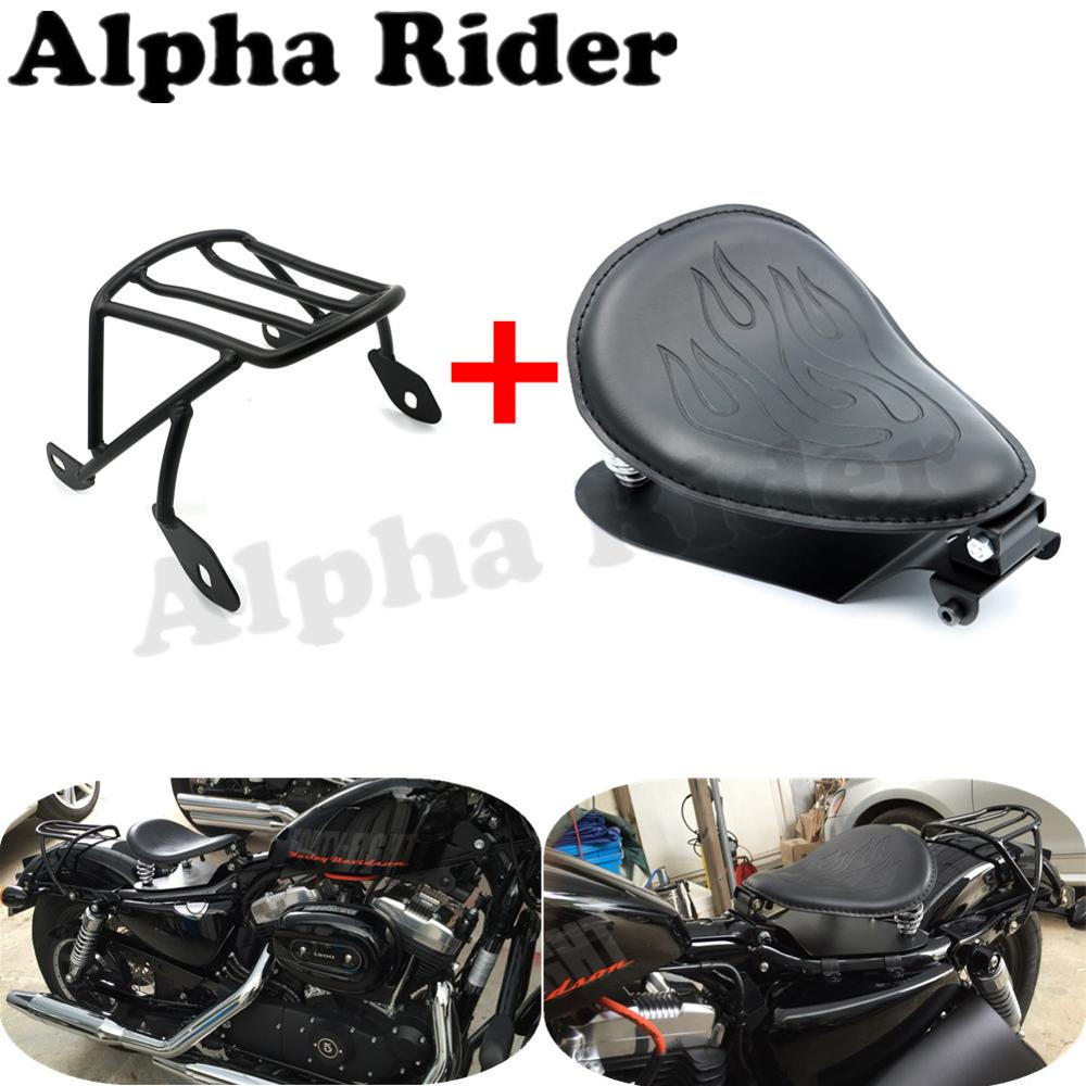 Solo Seat Baseplate Driver Sitting Pad & Rear Luggage Rack Saddlebag Cargo Shelf for Harley Sportster XL 883 1200 48 04-06 10-15 detachable luggage saddlebag cargo rack support shelf mounting screws for harley sportster xl883 xl1200 x48 2004 2016 solo seat