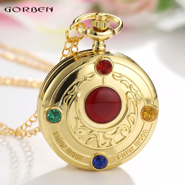 Golden Fashion Anime Janpanese Cosplay Sailor Moon Pocket Watch With Chain Neckl