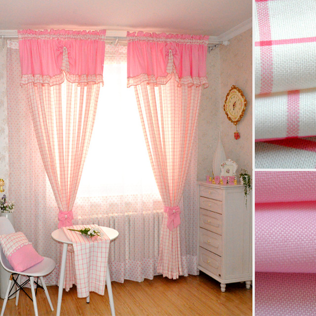 Plaid Curtain Linen Window Curtains Children S Boys Kids Infant Soundproof Cortinas Nursery Pink Curtains1834