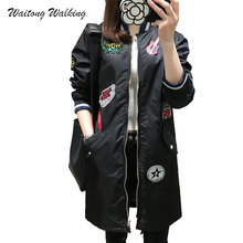 2017Autumn Winter Women Jacket Casual Fashion Basic All-match Outerwear Gold Rib Cartoon Patch Zipper Long Parka Female Coat x23