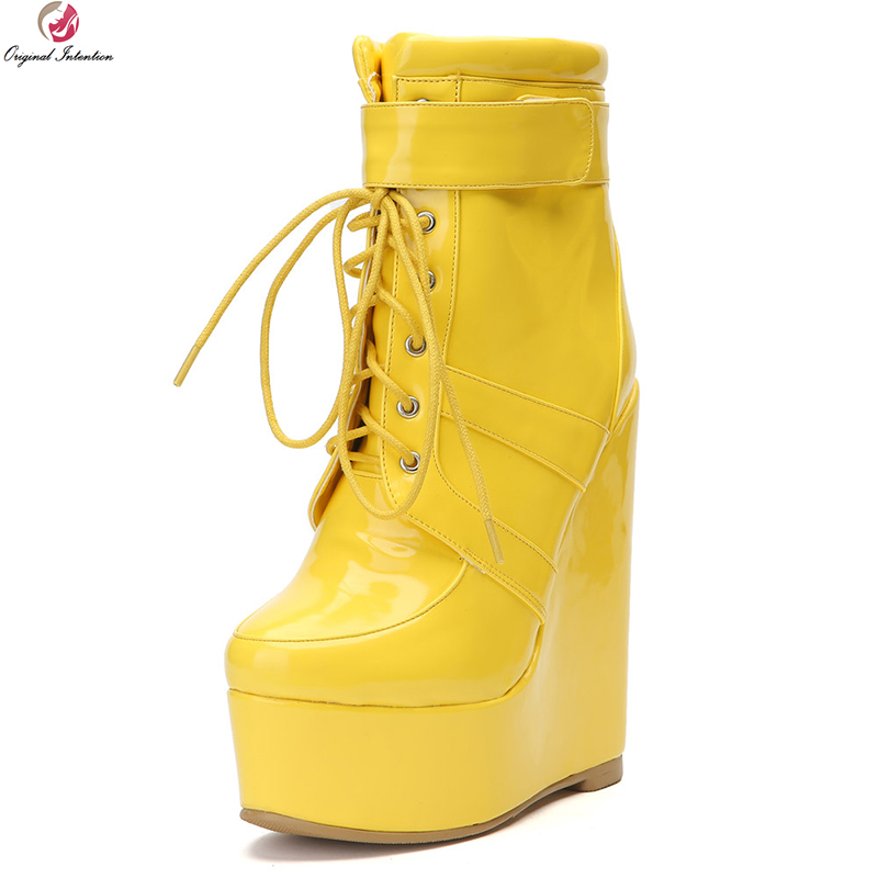 Original Intention Super Sexy Women Ankle Boots Fashion Round Toe Wedges Boots Nice Ladies Yellow Shoes Woman Plus US Size 4-15 original intention women new fashion ankle boots platform round toe spike heels boots nice grey shoes woman plus us size 4 15