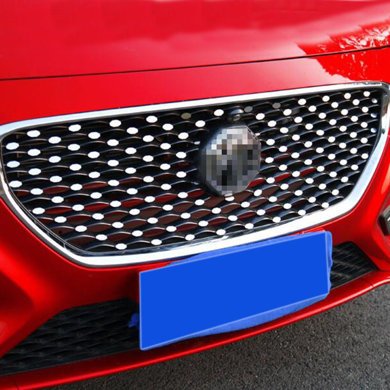 Car styling for MG ZS 2017 2018 silver Mirror Mini metal sticker front grille Babysbreath sticker lx 4846 universal key ignition ring decorative sticker for car silver