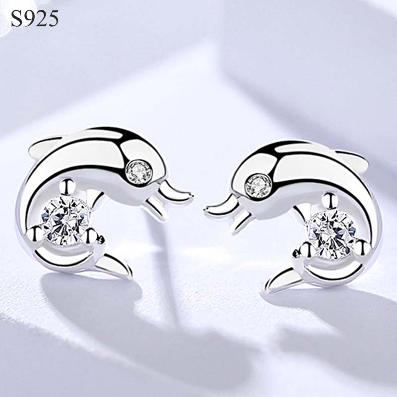100% Genuine Real Pure Solid 925 Sterling Silver Stud Earrings Women Jewelry Lovely Dolphin Cubic Zircon Female Silver Earrings100% Genuine Real Pure Solid 925 Sterling Silver Stud Earrings Women Jewelry Lovely Dolphin Cubic Zircon Female Silver Earrings