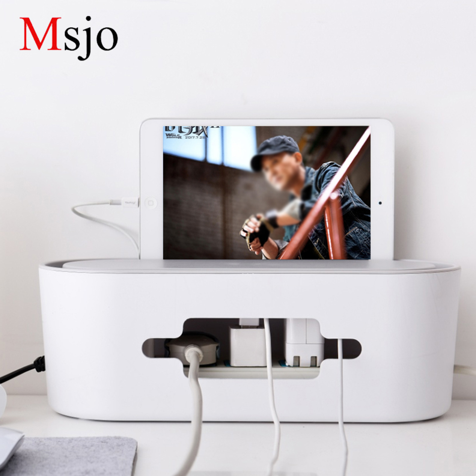 Msjo Cable Organizer Storage Box For USB Charger Cable Management High-capacity Home Ele ...
