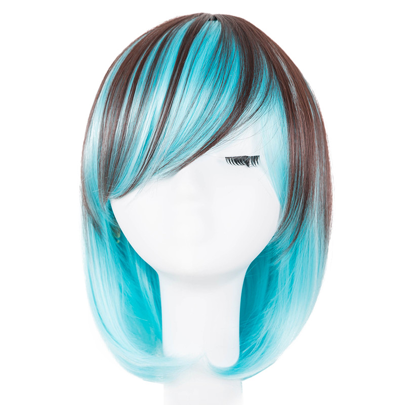 Brilliant Short Wig Fei-show Synthetic Heat Resistant Fiber Wavy Inclined Bangs Hair Brown And Blue Costume Cos-play Salon Party Hairpiece Synthetic Wigs