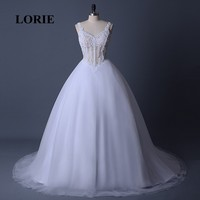 LORIE Ball Gow Wedding Dresses V Neck Beaded White Stones Tulle Appliques Lacing Back Lace Real Bridal Gown Free Shipping 2018