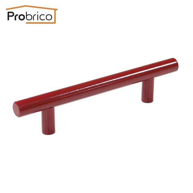 Probrico 100 pcs vermelho de aço inoxidável diâmetro 12mm buraco para buraco 96mm Gabinete Bar T Móveis Knob Puxador de Gaveta Puxa PD4483HRD96