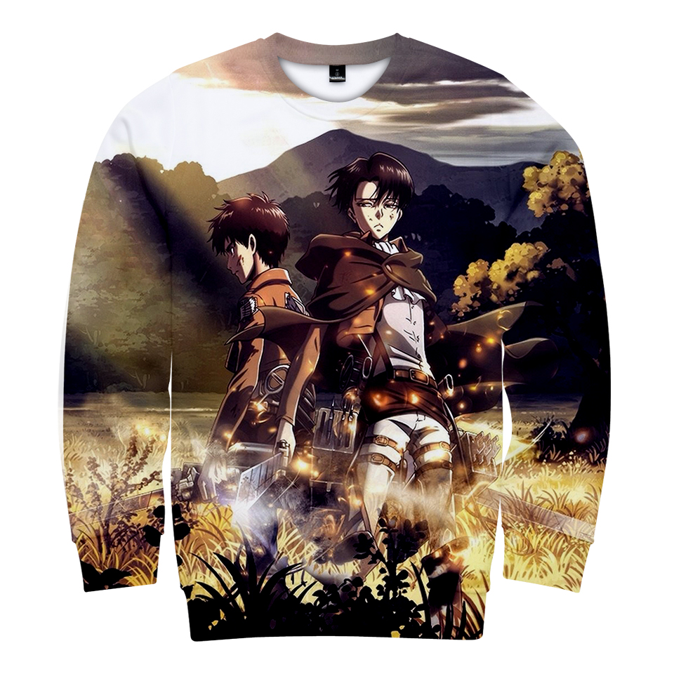 BTS 3D Print Attack Titan Long Sleeveless Covered Sweatshirt Anime Man/Female Casual Long Sleeve Hooded Sweatshirt 4XL Clothing