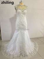 Custom-made Removable Jacket Wedding Dresses Lace Mermaid Wedding Dress Bridal Gown Beaded Wedding Gown