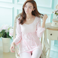 princess long sleeve length pants 100% cotton sleepwear laciness young girl lounge set nightgown