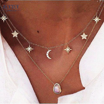 New fashion trendy jewelry moon star choker necklace gift for women girl N2096