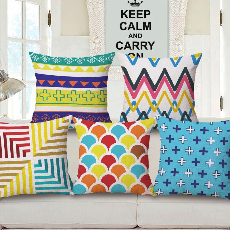 Bohemian Style Pillow Digital Printing Cotton Linen Pillowcase Home Decorative Sofa Car Chair Waist Cushion Cover