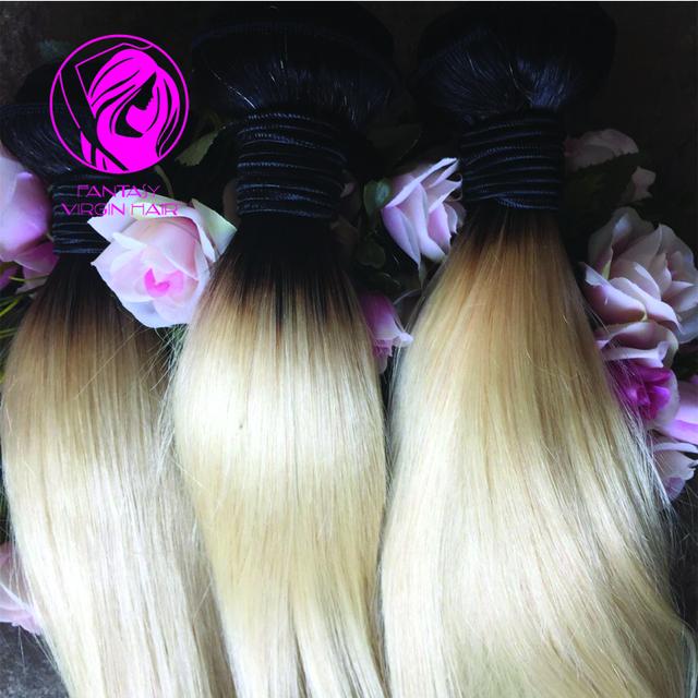 Nueva 8A Pelo Brasileño recto sedoso Pelo de la Virgen Ombre Rubia Dos Tonos Ombre Brasileña Del Pelo rubio Ombre armadura del pelo humano