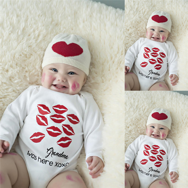 Cute Newborn Toddler Baby Boys Girls Cotton Long Sleeve Kiss Lipstick Printed Jumpsuit Bodysuit Clothes Outfit 2017 babies girl clothing whilte sleeveless suit newborn toddler baby girls arrow bodysuit jumpsuit outfit clothes 0 24m