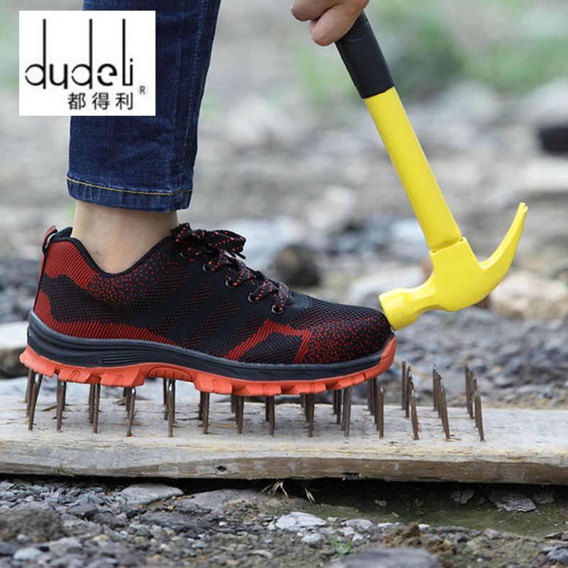 dudeli brand plus size 36-48 steel toecap men women work & safety boots fashion lightweight sneakers casual male shoes men