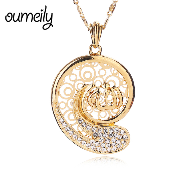 Oumeily allah pendant necklace for men women gold color classic oumeily allah pendant necklace for men women gold color classic choker islamic accessories imitation crystal jewelry mozeypictures Choice Image