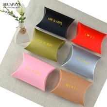 100pcs Personalized Pillow kraft paper candy box wedding MR & MRS baby shower its a boy girl thanks merci love add name