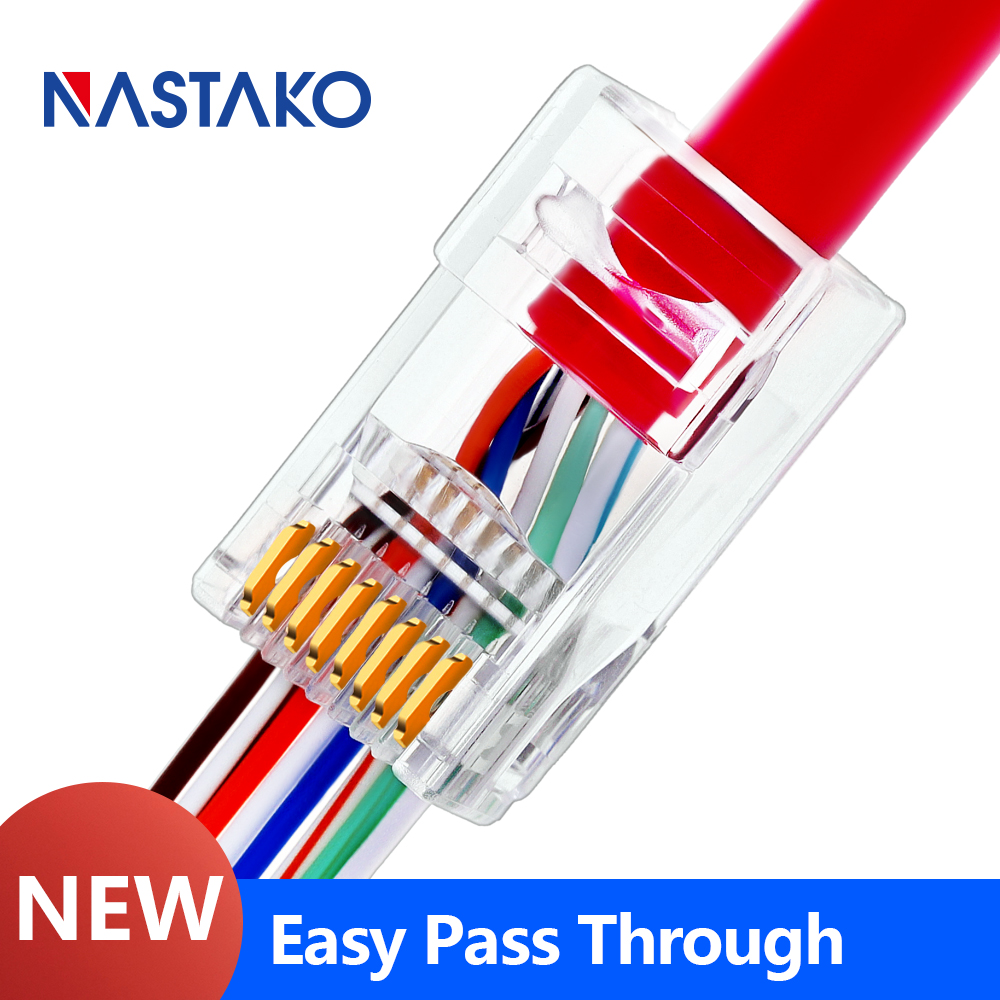 Cat5e Cat6 RJ45 Connector Ez RJ45 Cat6 Plug Network Ethernet Cable UTP Modular Plug Cat5 Have Hole Easy Pass Connector