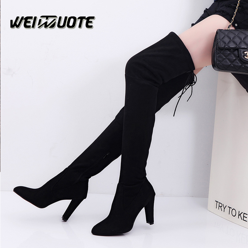 Big size Women Boots Sexy Knee High Boots High heels Winter Warm shoes Zipper botas feminina long boots lace up woman shoes asumer 3 colors new big size 34 43 women boots winter fashion lace up knee high boots sexy woman shoes snow motorcycle boots