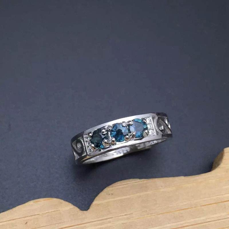 Real природный алмаз и сапфиры серебряное кольцо Fine Jewelry 3 шт. обручальное кольцо Юбилей драгоценных камней