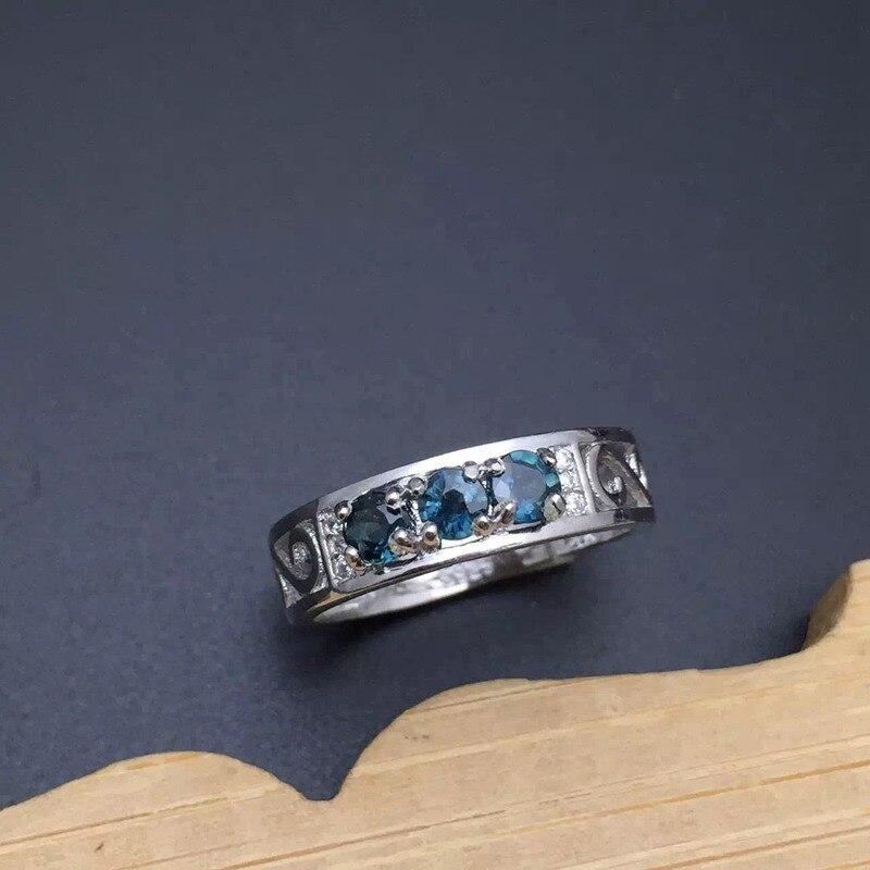Real Natural Diamond & Sapphires Silver Ring Fine Jewelry 3PCS Wedding Ring Anniversary Gemstone