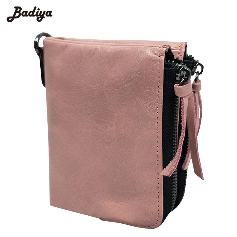 Double Zipper New Design Cow Leather Wallet Women Solid Short Card Holder Female Purse Vintage Genuine Leather Ladies Wallets
