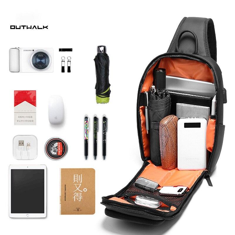 Image 3 - Multifunction Mens Shoulder Bag Anti theft Crossbody Bags for  Men USB Port Shoulder Messenger Bag Male Waterproof Short TripCrossbody  Bags