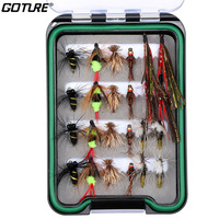 Goture 24pcs/set Fly Fishing Lure Set Trout Bass Carp Fishing Bait Dry Fly Lure Kit Fishing Artificial Bait Fake Lures With Box