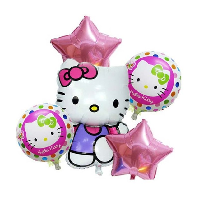 New style 5pcslot hello kitty Foil balloons pink star happy