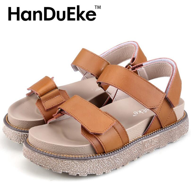 HanDuEKe 2017 New Shoes Woman Summer Plus Size35-43 Hook Loop Gladiator Sandals Women Platforms Sandals Flats Flip Flops phyanic platform women sandals 2017 new summer gladiator sandals beach flats shoes woman hook