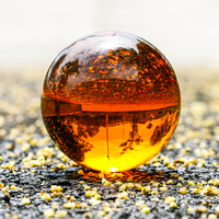 H&D 80mm Crystal Meditation Ball Magic Globe with Free Stand,Crystal Magic Ball Healing Ball Glass Ball Paperweight (Amber)