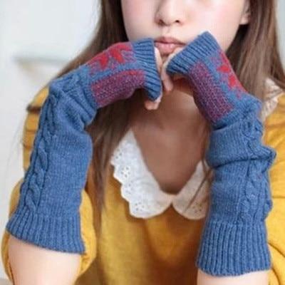 Snowflake Women's Knitted Gloves Middle Length Wrist Arm Warmer Winter Fingerless Mitten Dropshipping
