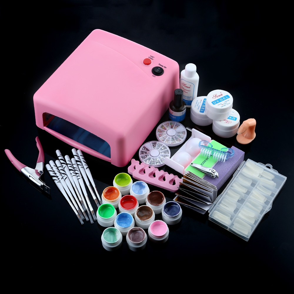 Pro Full Nail Art Set with 36W White Cure Lamp Dryer UV Gel Nail 44 pcs Tools Kit Nail Separator Cutter 12 Solid Color UV Gel nail art full set 36w nail lamp dryer