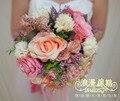 2017 Букет де mariage Дешевые Свадебный Букет Невесты Букет Новое Прибытие Розовый Искусственный Цветок Свадебный Букет Свадебный Цветок