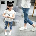 2016 New Selling Style Kids Jeans Girls Trousers Autumn Fashion Designer Children Denim Pants Casual Ripped Jeans For 2~9 Years