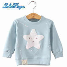 Forår Efterår Toddler Baby Sweatshirt Bomuld Lange Ermer Baby Girls Boys Star Pattern Sweatshirts Casual Outwear O-Neck tøj
