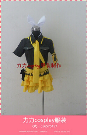 Free shipping Hot Vocaloid 2 Love is War Kagamine Rin Cosplay Costume