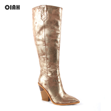 Gold Cowboy Kine High Boots for Women Wedge High Heel Boots Pointed Toe Western Cowgirl Boots 2019 Woman Autumn Winter Shoes 2019 fashion cowgirl boots women shoes winter western cowboy ankle boots pointed toe splicing sequined pu leather shoes woman