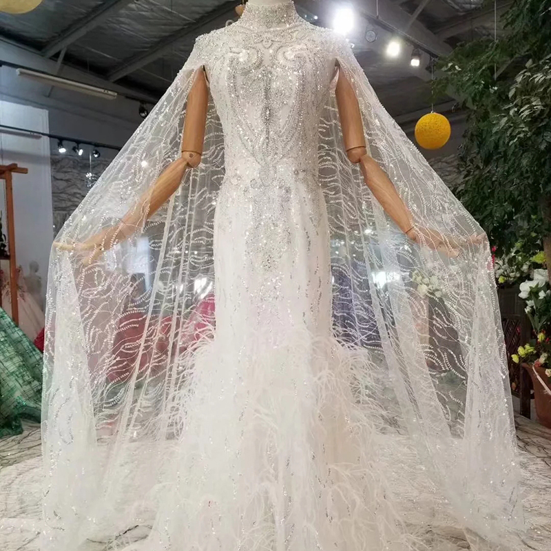 WONDMOND robe sirène robe de mariée avec manches châle col haut Cap manches trompette mariée robes robe de mariée brosse Train